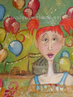 Original Whimsical Mixed Media Carnival Girl by MagpiesandMimsy, $112.00