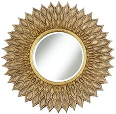 Traditional Sunflower Wide Antique Gold Wall Mirror - modern - Mirrors - Lamps Plus bevel. Mirror glass is 16 wide. Mirror Lamp, Sunburst Mirror, Round Wall Mirror, Wall Mounted Mirror, Round Mirrors, Modern Mirrors, Sun Mirror, Beveled Mirror, Beveled Glass