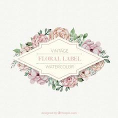 Roses with leaves vintage floral label Free Vector