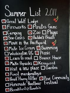 Make a SUMMER BUCKET LIST!!  Ideas for our next summer fun bucket list:  lemonade stand, backyard movie, homemade ice cream, camping at raccoon creek, make a backyard obstacle course, plant a veggie garden, tie dye shirts, surprise friends with a homemade treat, go geocaching,