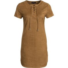 New Look Suede Lace Up Front Tunic featuring polyvore, women's fashion, clothing, tops, tunics, dresses, blouses & shirts, camel, womens-fashion, oversized tunic, short sleeve tunic, short-sleeve shirt, oversized tops and brown tops