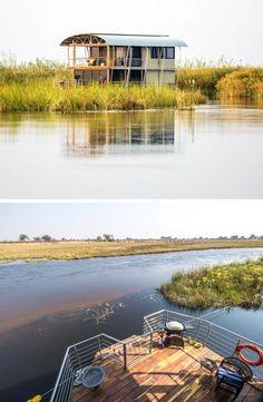 Kom bly in 'n pragtige huisboot in 'n privaat kanaal van die Kwandorivier in Namibië! Boathouse, Lodges, Villa, Van, River, Nature, Landscape Rake, Cabins, Naturaleza