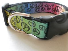Feeling Groovy Peace Signs Dog Collar/Retro Funk/Adjustable by FourPawsJewelry on Etsy