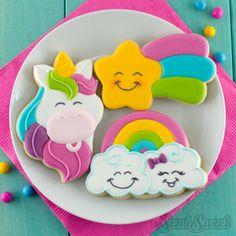 , estrella fugaz, y galletas unicornio del arco iris