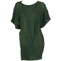 Preowned 1980s Jil Sander Pine Green Sweater Knit Tunic (510 AUD) ❤ liked on Polyvore featuring tops, dresses, sweaters, mini dress, vestido, green, 80s tops, knit tops, kimono sleeve top and green crop top
