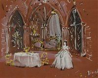 Projet de décor pour La mort écoute aux portes de Jean Cocteau par Christian Bérard