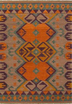 Flat-Weave Durable Wool Orange/Purple Area Rug - Mediterranean - Rugs - Jaipur Rugs Inc.