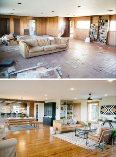 """Fixer Upper"" – The Paw Paw's House (season 3 episode 7) living room before and after 2 – Magnolia Market"