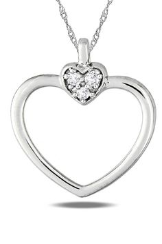 0.05 ct Diamond Heart Pendant in 10k White Gold. So pretty