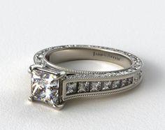 14K White Gold Hand Engraved Channel Set Princess Shape Diamond Engagement Ring #channelsetring #diamond #ring