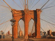 "Brooklyn Bridge at Sunset #4, 9""x12"" oil painting, by Nick Savides"