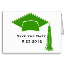 Save The Date Green Graduation Cap Greeting Card