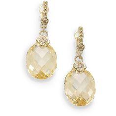 Judith Ripka Canary Crystal, Diamond & 14K Yellow Gold Drop Earrings ($307) ❤ liked on Polyvore featuring jewelry, earrings, accessories, drop earrings, 14 karat gold earrings, yellow gold diamond earrings, gold earrings and gold diamond earrings