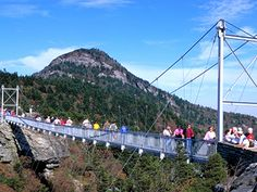 Grandfather Mountain, Boone, NC - Can't believe I walked across that :) Nc Mountains, North Carolina Mountains, Blue Ridge Mountains, Mountain Pictures, Carolina Usa, Great North, Blue Ridge Parkway, Vacation Places, State Parks