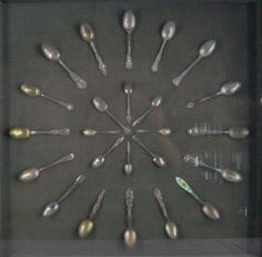 Large Shadow Box Display Case w 24 Mounted Antique Silver Souvenir Spoons | eBay
