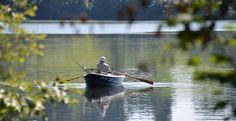 Rowing Boat, Boat Trip, Angler, Mountain Panorama