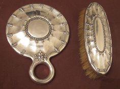 Antique 19th Century Tiffany Co Sterling Silver Vanity Hand Mirror Brush Set | eBay