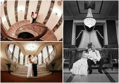 Art Deco accents are plentiful throughout the Hilton Hotel in Downtown Milwaukee and make for amazing wedding photo ops. Left photos by Emily Johnson / Right photo by Front Roo...