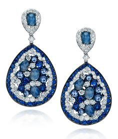 석류같은 느낌 Sapphire & Diamond Earrings from Cellini Jewelers ♥•♥•♥