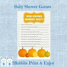 Pumpkin Baby Shower Game Who Knows Mommy Best Game. #pumpkinbabyshower #thanksgivingbabyshower #whoknowsmommybestgame