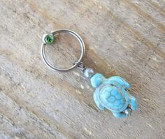 Turtle Captive Bead Ring Turquoise Bead RIng by TheCharmedBelly