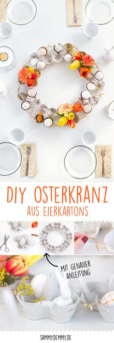 DIY Osterkranz und blumige Tischdeko für Ostern - Diy İdeas for Home Easter Table Decorations, Decoration Table, Easter Gift, Easter Crafts, Des Fleurs Pour Algernon, Egg Box Craft, Mesa Floral, Spring Decoration, Diy Osterschmuck