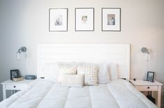 white master bedroom via Positively Oakes | Mason Jar Sconces from Barn Light Electric