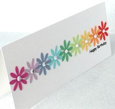 Simple simple handmade birthday card rainbow floral punch - 100 Best Easy DIY Crafts images - rainbow Stills Ideas Scrapbook, Scrapbook Cards, Handmade Birthday Cards, Greeting Cards Handmade, Easy Diy Birthday Cards, Simple Handmade Cards, Flower Birthday Cards, Diy Cards Easy, Simple Card Designs