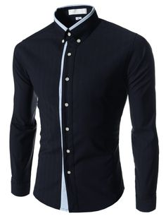 Navy Blue Slim Fit Contrast Shirts Men Clothes