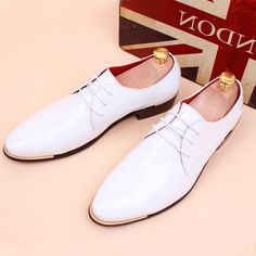 Patent Leather White Men Dress Shoes Fashion Casual Oxford Shoes Men Spring New…