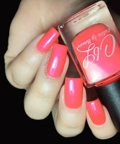 Hillbilly Harlot - Neon coral creme with subtle pink shimmer Colors by LLarowe Overboard Summer 2015 Collection swatches