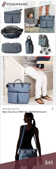 Like New. Clean 👶🏼SKIP * HOP diaper bag   👶🏼 All of your baby's items in style with the Duo Special Edition!  Magnetic closures on both the exterior bottle pockets and a zip on the main compartment ensure everything stays in its place. An interior bottle pocket and two side pockets keep diapers, bottles and parent must-haves organized.   Hangs on a stroller and can be worn over the shoulder Adjustable stroller strap & rolled handles Wipeable fabric Nine pockets, including a personal zip…