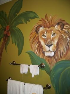 Instead of a marine themed bathroom mural why not a jungle themed one?