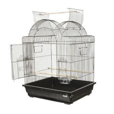 $92.99-$283.39 AE29629Black Color: Black Pictured in black  Features: -Open Top Victorian Small Bird Cage. -Available in Black and Pure White. -This cage has a durable finish. -Large Main Door. -Slide out tray. Specifications: -Exterior Dimensions: 30'' H x 21'' W x 25'' D. -Bar spacing: 1/2''. -Includes 2 Perches and 2 Feeders. Suggested Breeds: Finches, Canarys, Parakeets, Parrolets, and Cockat ...