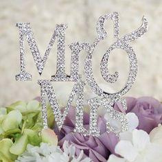 Rhinestone Crystal Mr Mrs Cake Topper for Wedding, Engagement, Anniversary &Bridal Shower Decorations