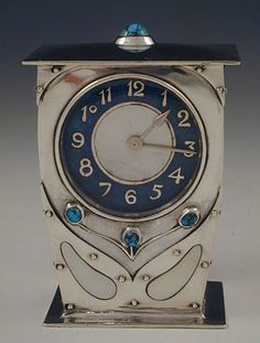 Archibald Knox for Liberty & Co. Arts & Crafts Cymric Silver & Enamel Clock