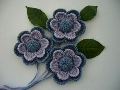 Crochet Applique Crochet Flowers Corsage by CraftsbySigita on Etsy,