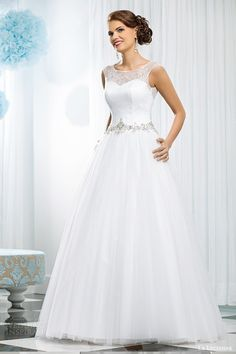 La Lucienne #bridal 2015 opal sleeveless ball gown #wedding dress embellished waist illusion straps #weddings #weddingdress #weddinggown #ballgown