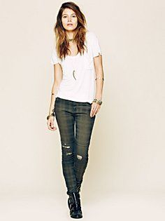 Mid Rise Plaid Skinny in Clothes-Denim-Printed-Jeans