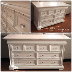 Nursery Dresser refinished in CeCe Caldwell's Paints - Vintage White. Nursery Dresser, Nursery Crib, Dresser Refinish, Dresser Drawers, Baby Safe Paint, Water Bed, Glass Knobs, Painted Furniture, Bed Furniture