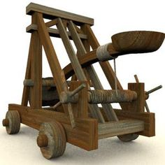 Replica of a Roman Catapult. A catapult is any siege engine which uses an arm to hurl a projectile. The Roman version was called an onager. Projectiles included both arrows and (later) stones.