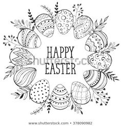 Easter Wreath Easter Eggs Hand Drawn Stock-Vektorgrafik (Lizenzfrei) 378090982 Easter wreath with easter eggs hand drawn black on white background. Decorative doodle frame from Easter eggs and floral elements. Easter eggs with ornaments in circle shape. Easter Art, Easter Crafts, Easter Eggs, Doodle Frames, Doodle Art, Easter Drawings, Easter Wallpaper, Floral Doodle, Easter Coloring Pages