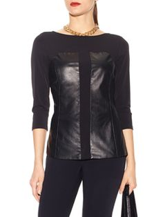 """Doncaster.com-M226BL27BLA. Mixed Media Blouse In Leather/Synthetic Jersey. ¾ length sleeves, leather corset style panels at front sides, front princess seams, topstitching at neckline, cuffs and back hem. Stretch lined leather panel only, 24""""."""