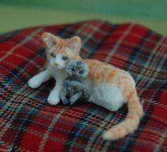 OOAK Realistic Miniature ~ Cat & Baby Marmoset Monkey ~ Handmade Dollhouse 1:12 | eBay (by Reve)