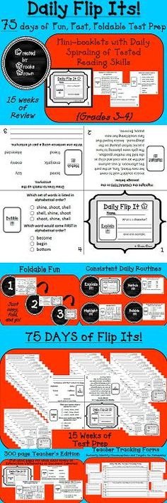 Daily Flip Its! {75 Days of Fun, Fast, Foldable Test Prep for 3rd and 4th Grade} | Elementary Language Arts | Spiral Review