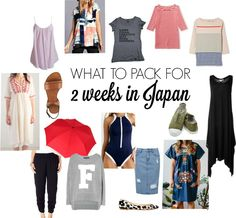 What to pack for 2 weeks in Japan in June/July when the weather is hot and sticky.
