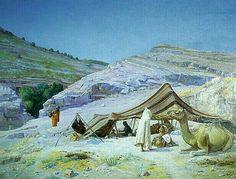 Algérie - Peintre Français,Alcide Bariteau (1862 - 1943),Huile sur toile, Titre : Le campement berbères