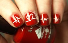 Rimmel Heart on Fire as base colour and painted on the lines with white acrylic paint using a nail art brush. Finished it off with two coats of NYC In A New York Minute.