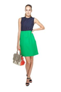 Tate Twill Dress  $398.00  Casual, twill colorblocked dress. Features an exposed zipper and high-waisted elastic.    100% Polyester.    #M1121328