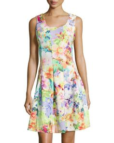 Pixelated+Floral-Print+Sleeveless+Dress,+Multi+by+Neiman+Marcus+at+Neiman+Marcus+Last+Call.